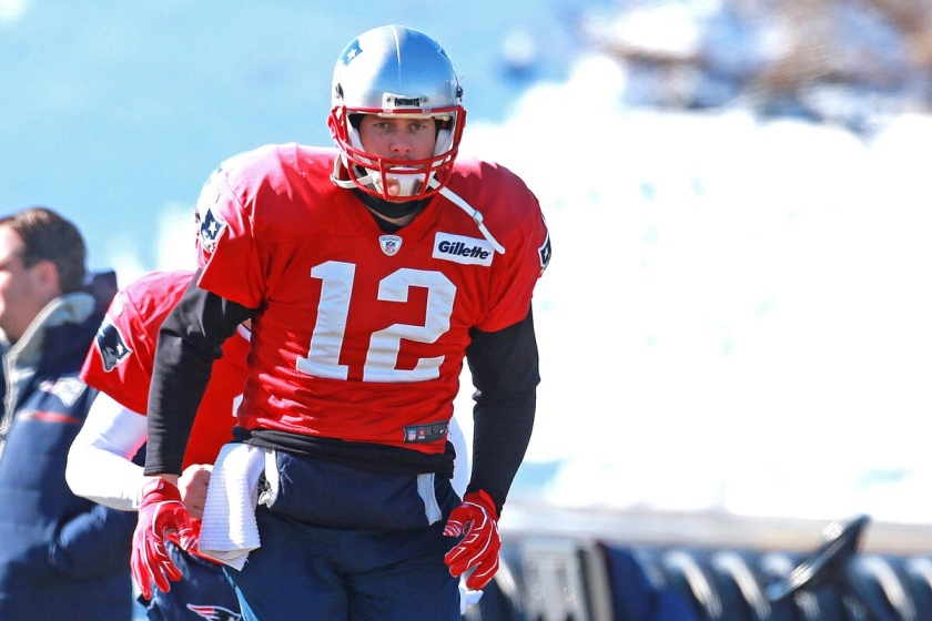 Brady pictured after his collision with Burkhead